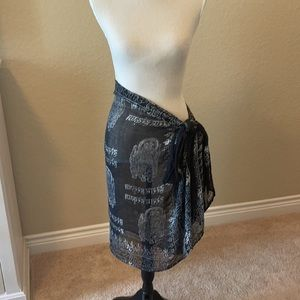 Silk Embroidered Love Wrap, scarf or sarong